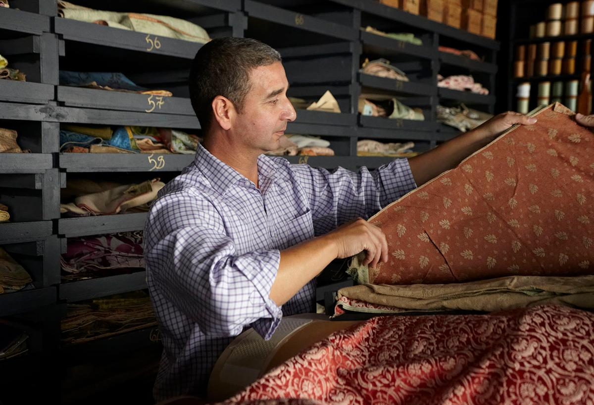 Neil, Gainsborough's Technical Director in their archive room which includes five centuries worth of inspiring fabric design