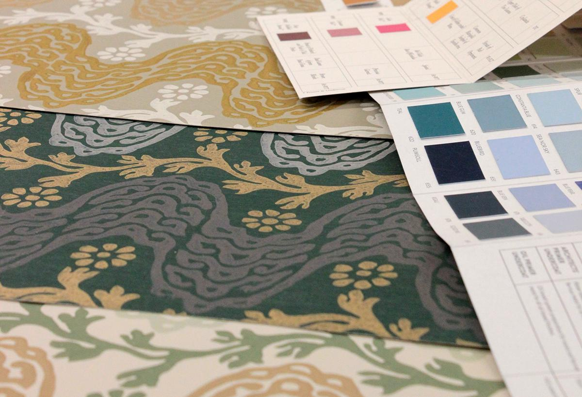 Wallpaper prototypes for a new collection coming soon, based on historic paintings from the Gainsborough archive