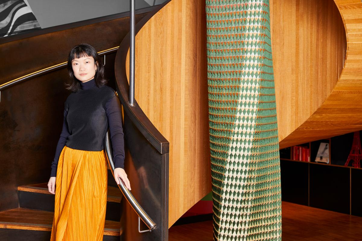 Tiffany Loy at citizenM hotel with her London Craft Week piece in collaboration with Gainsborough