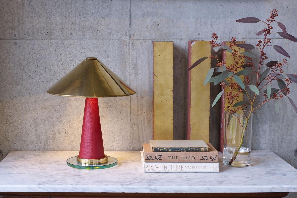 leather wrapper luxury lighting by Collier Webb